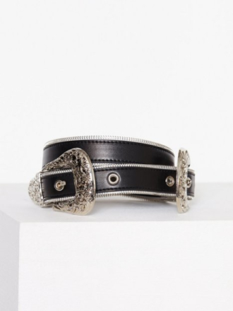 Missguided Zip Trim Double Western Belt Bälten & Skärp Black