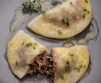 Pierogi with Baked Duck Meat, Ghi Butter and Thyme