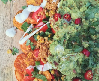 Loaded Sweet Potato Nachos (vegan, onion & garlic free)