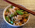 Sesame Spiked Glass Noodles with Sugar Snap Peas and Tofu
