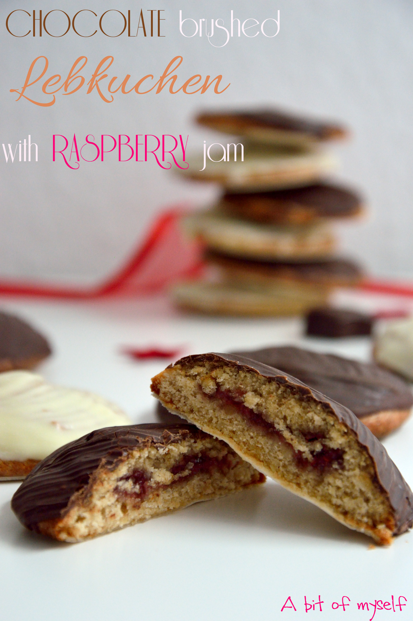 Chocolate brushed lebkuchen with raspberry jam