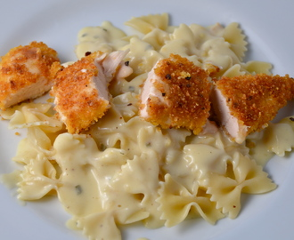 Crispy Chicken With Creamy Italian Sauce And Bowtie Pasta. Neonfaith On The Stereo.
