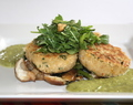 Oats and chick pea cakes on saute broccolini and shiitake, asparagus-leek sauce, shredded spinach salad with toasted walnuts