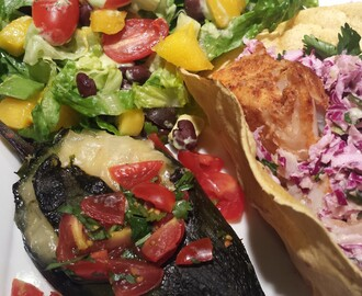 Mexican Trio – Fish Tacos, Chile Rellenos & Black Bean and Mango Salad with Avocado Ranch