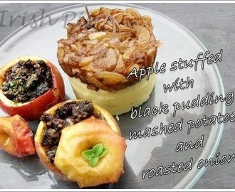 Apple stuffed with black pudding, mashed potatoes and roasted onions / Gefüllter Apfel mit Blutwurst, Stampfkartoffeln und Schmelzzwiebeln