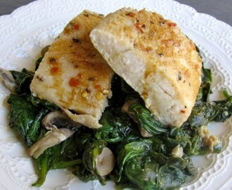 Simple Baked Fish with Spinach