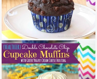 Happy Birthday {Healthier} Double Chocolate Chip Muffins with Greek Yogurt Cream Cheese Frosting