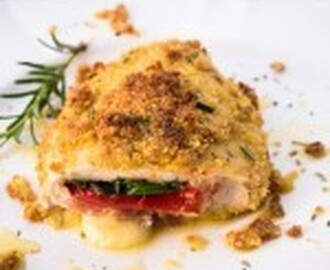 Stuffed Chicken Breast with mozzarella, ham and pepper