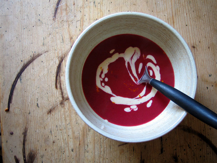 beetroot soup with ginger and orange cashew cream