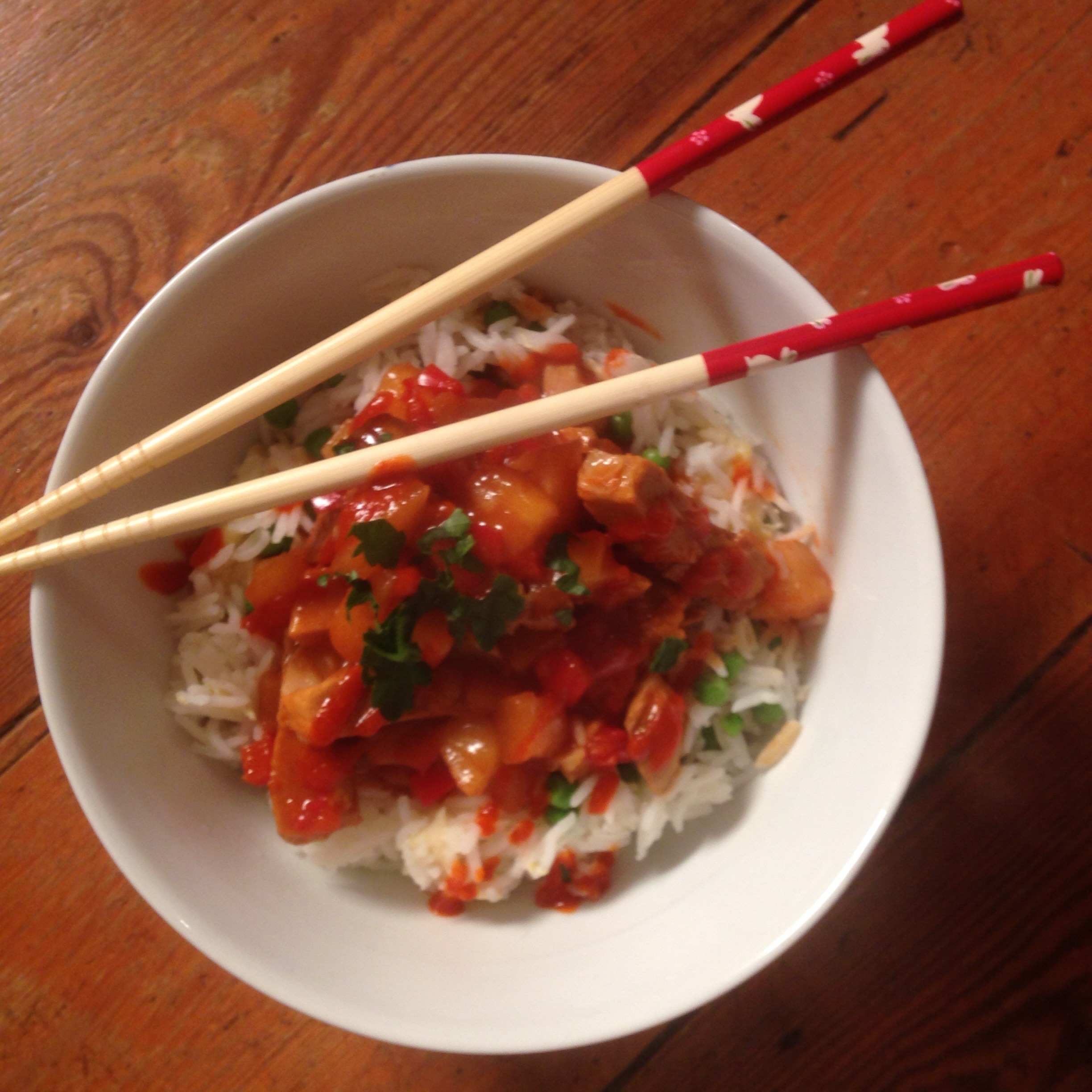 Sweet and sour pork with egg fried rice
