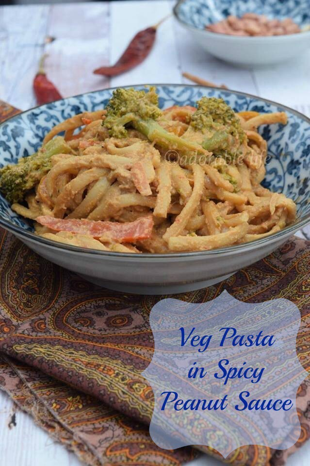 Veg Pasta in Spicy Peanut Sauce