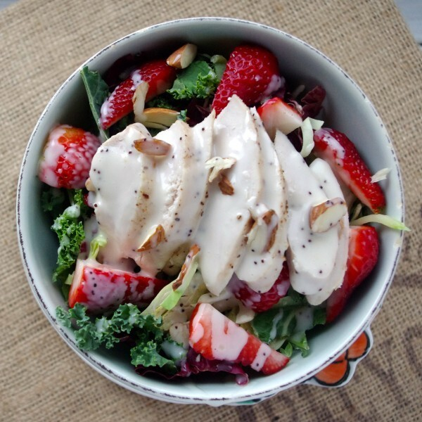 Strawberry & Kale Slaw Chicken Salad with Poppyseed Dressing (GF)