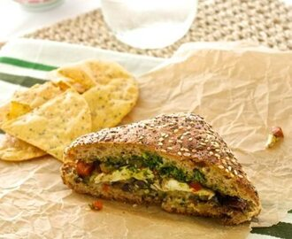 Roasted Eggplant Sandwich with Fresh Mozzarella, Tapenade, and Spinach Pesto