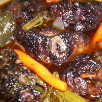 Oxtails and Mushroom Mirepoix in Red Wine Reduction Recipe