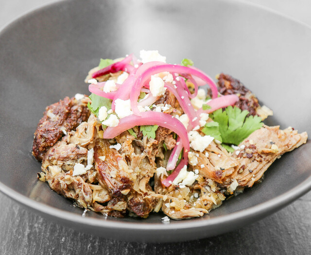 Slow Roasted Mayan Pork with Garlic Salsa