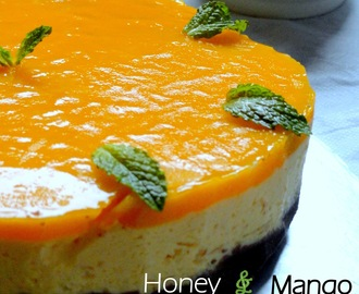 Eggless No Bake Honey And Chilled Mango Cheesecake