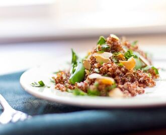 Red Quinoa Salad with Sugar Snap Peas