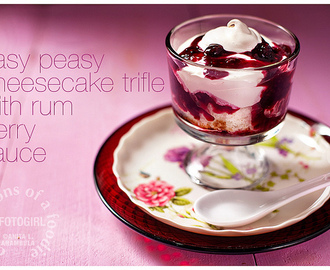 Easy Valentine's Day dessert: Cheesecake Trifle with Rum Berry Sauce