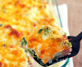 Healthy Cauliflower Broccoli Casserole with Ham