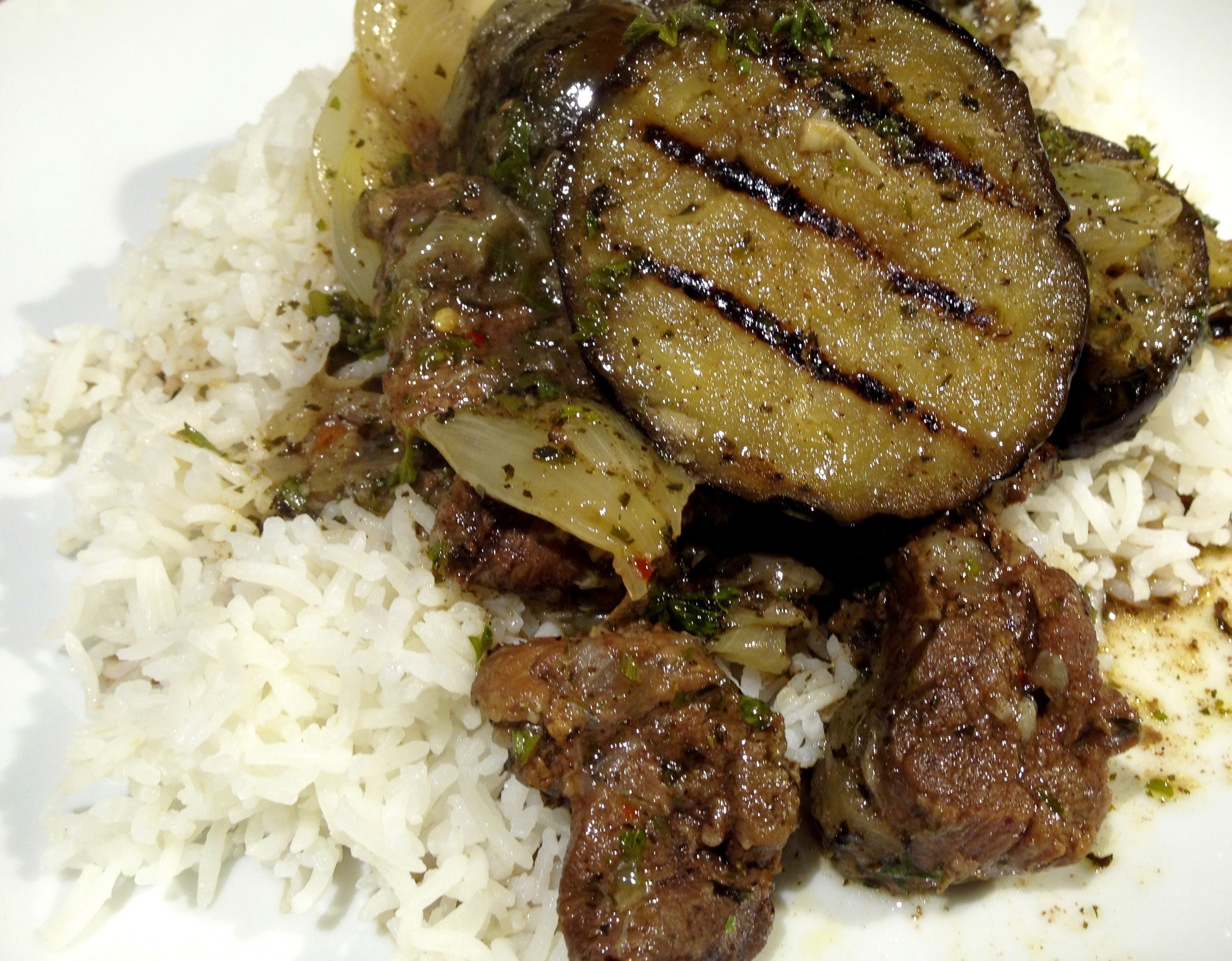 Lamb stew with aubergines and mint