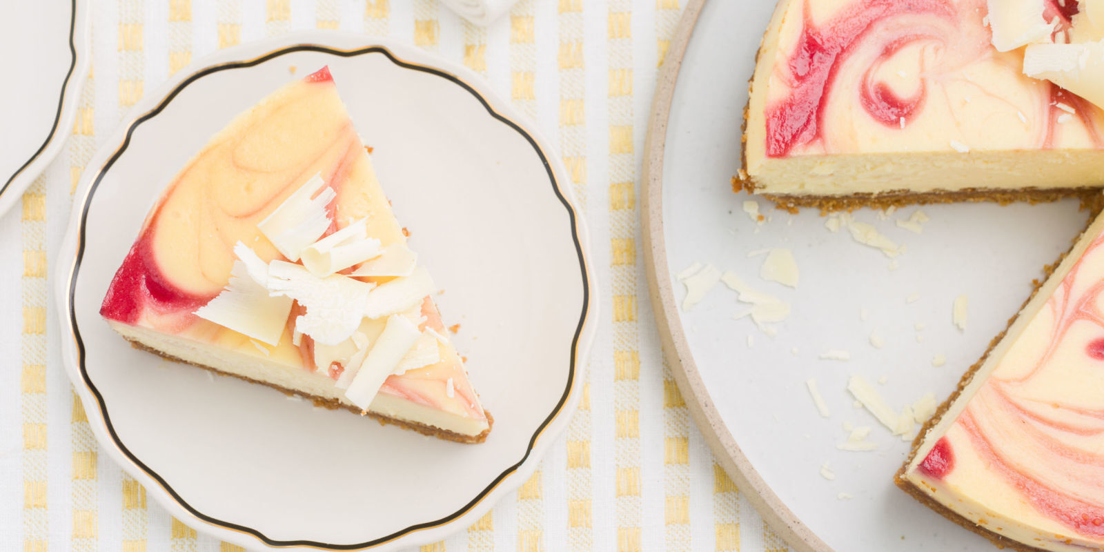 White Chocolate Cheesecake with Raspberry Swirl