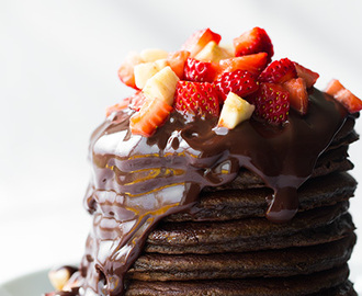 Chocolate Pancakes with Chocolate Sauce, Strawberries and Bananas