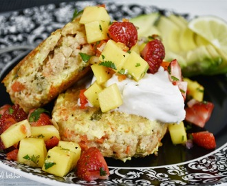 Salmon Cakes with Coconut Cream and Strawberry Mango Salsa
