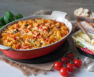 Creamy Chicken & Cherry Tomato Pasta Bake