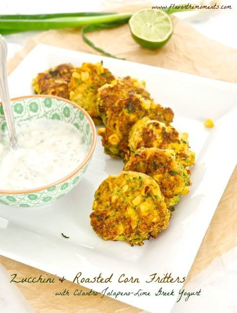 Zucchini and Roasted Corn Fritters with Cilantro Jalapeño Lime Greek Yogurt