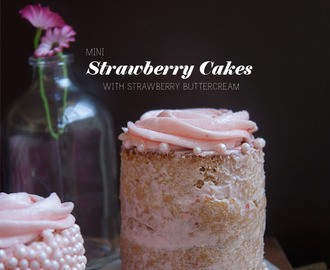 Mini Strawberry Cakes with Strawberry Buttercream