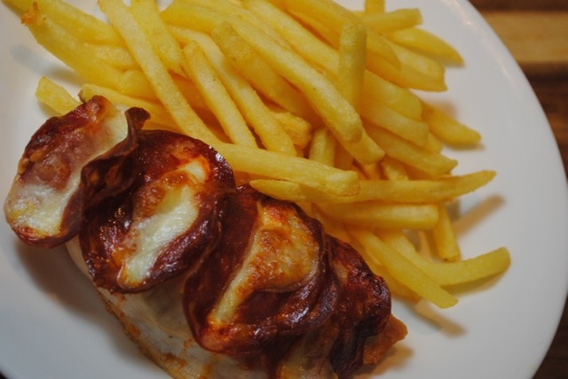 Chorizo and Mozzarella Stuffed Chicken and Fries recipe