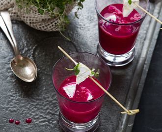 BEETROOT AND COCONUT MILK SOUP WITH GOAT CHEESE