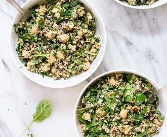 Herbed Quinoa & Chickpea Salad with Lemon-Tahini Dressing