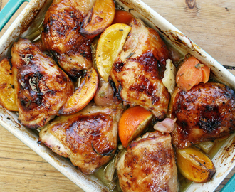 slow-cooked chicken thighs with orange, radish and honey