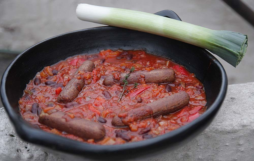 Very Red Pepper and Kidney Bean Casserole with Vegan Sausages