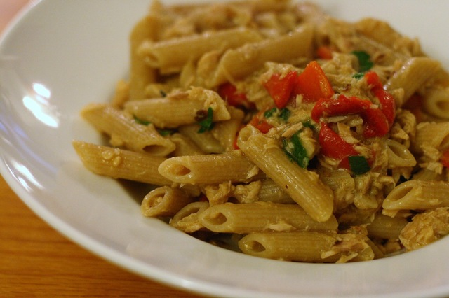 Pasta and Red Pepper Tuna Sauce with Anchovies, Garlic and Basil