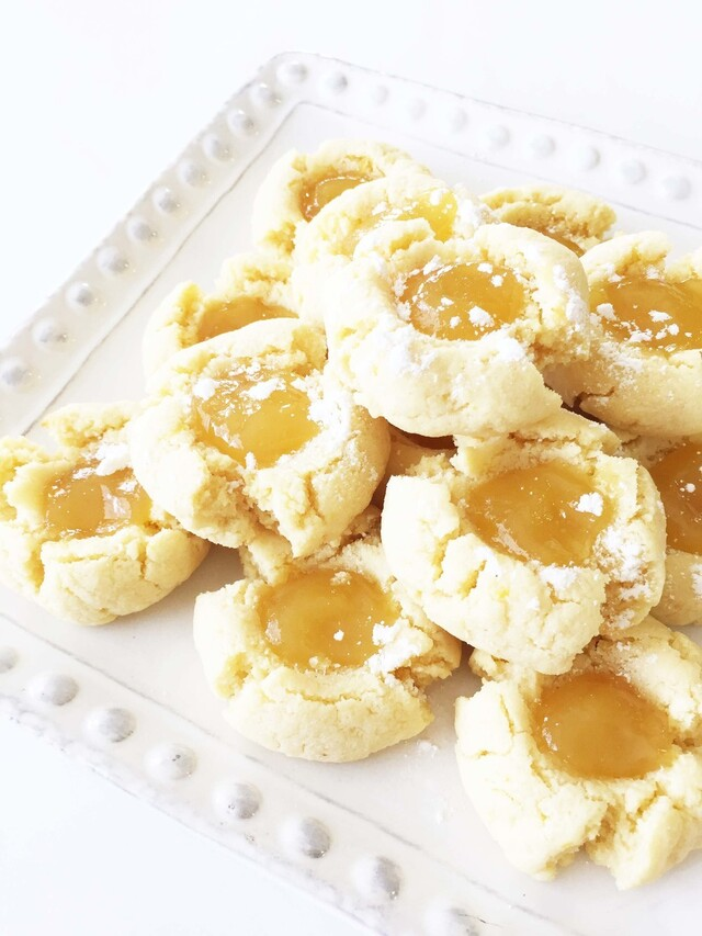 Skinny Lemon Thumbprint Cookies (Gluten Free)