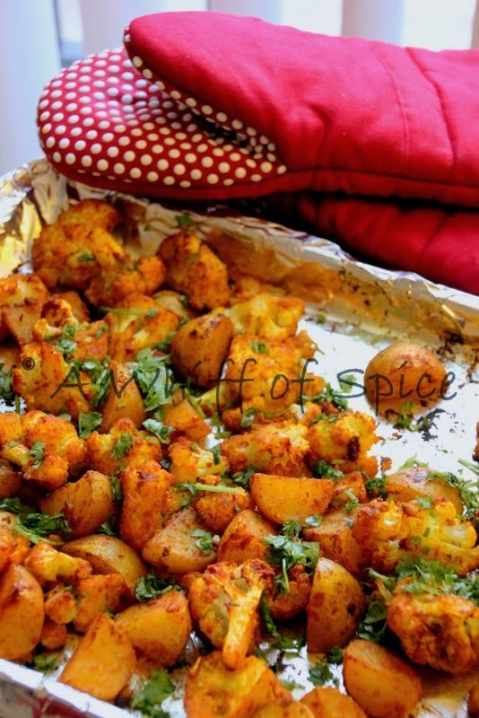 Oven Roasted Cauliflower and Potatoes - Indian Style