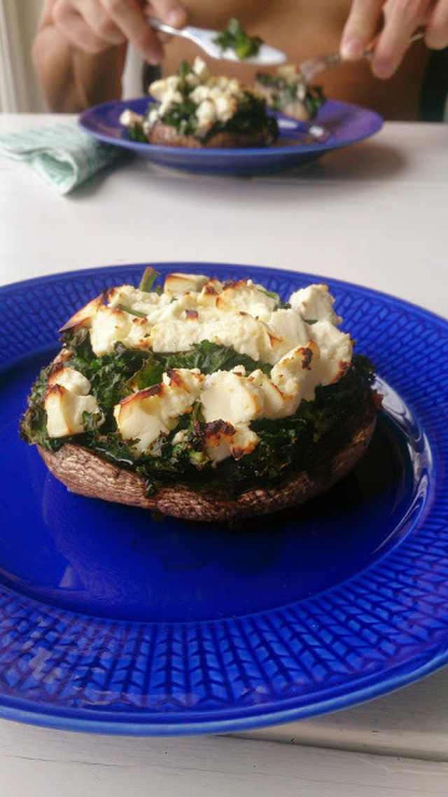 Kale and Spinach Stuffed Portabello Mushroom topped with Feta Cheese - or Brunch!