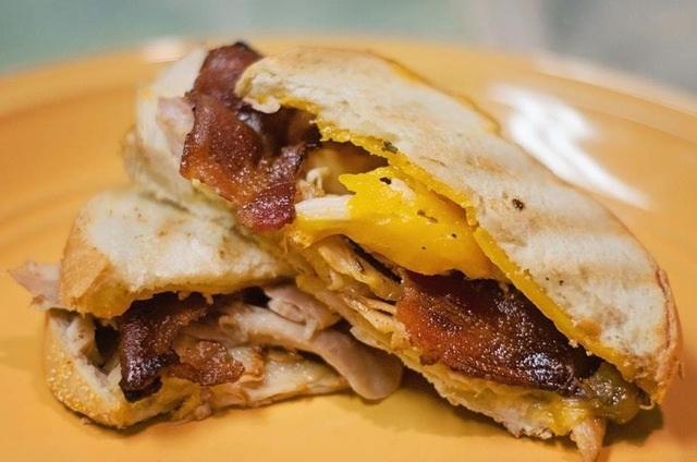 'Brown Sugar Bacon & Chicken' Grilled Cheese Panini