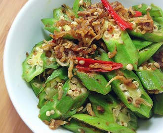 [2 Recipes] Stir-fry Okra With Anchovies Or Prawn