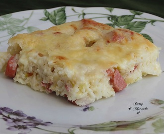 Pastel sencillo de arroz basmati - Basmati rice with sausages and cheese