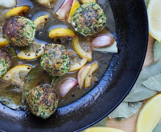 Vegan Supergreen Meatballs with a Bay & Lemon Sauce