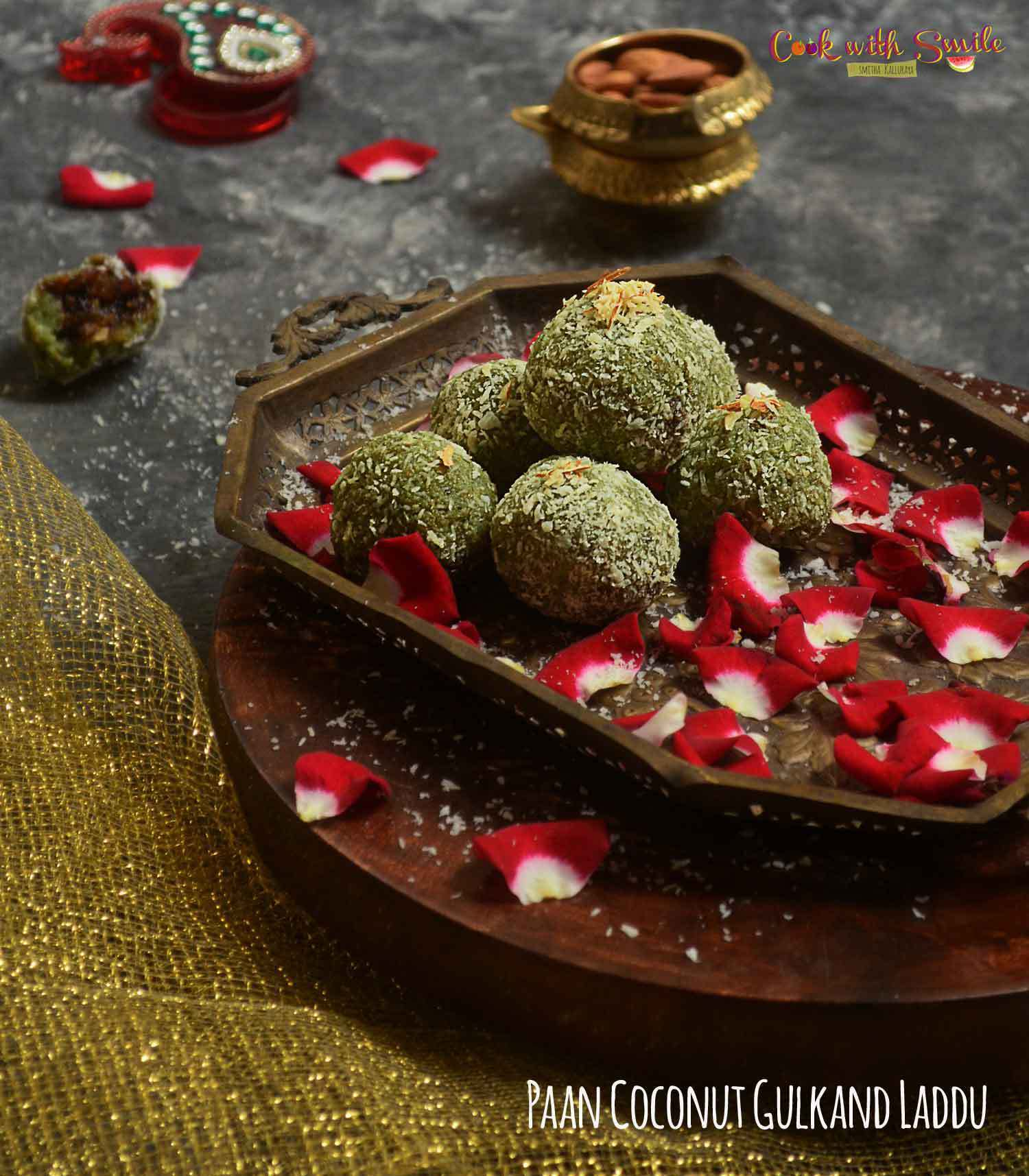 PAAN COCONUT LADOO RECIPE / PAAN LADDU – BETEL LEAVES RECIPES