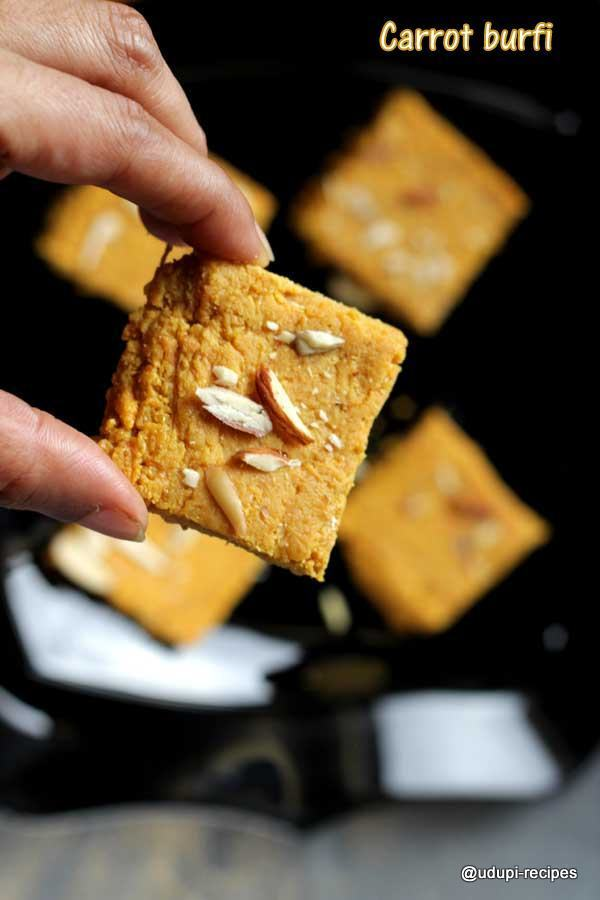 Carrot Burfi | Carrot Milk Powder Barfi Recipe
