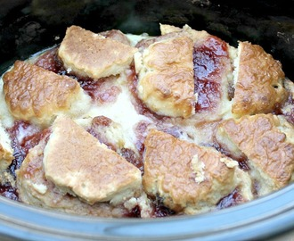 Slow Cooker Strawberry Jam and Scone Pudding