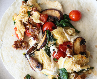 Scrambled Eggs and Sausage Breakfast Burrito Plus 5 More Recipes to Fold and Go