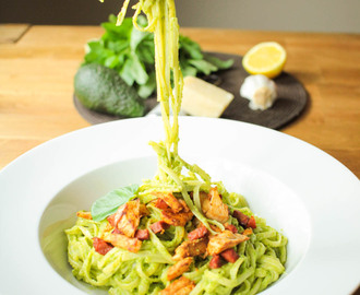 Creamy Avocado Pesto Linguine with Chicken and Chorizo