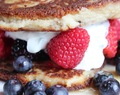 Coconut flour Pancakes with Berries and Mint and lemon yoghurt ! day 3 of a healthy eating lifestyle !