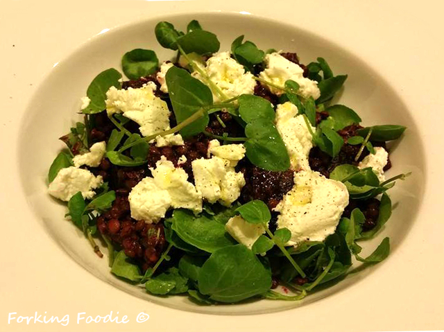 Quick Beetroot, Goat's Cheese and Puy Lentil Salad with a Balsamic and Basil Dressing
